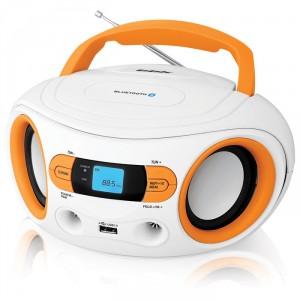 Аудиомагнитола BBK BS15BT, белый/оранжевый